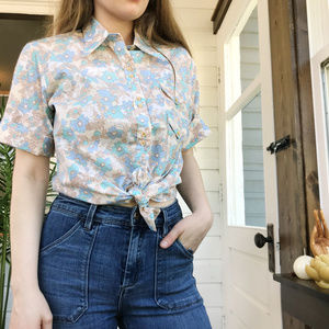 Vintage Permanent Press Floral Button Down Shirt